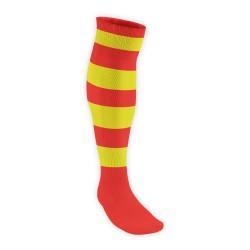 Chaussettes Rugby Pro Cerclées Rouge/Jaune JICEGA